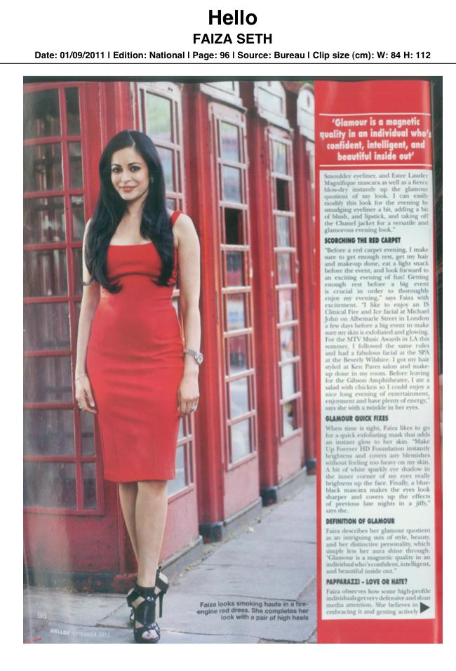 Hello Magazine Faiza Seth