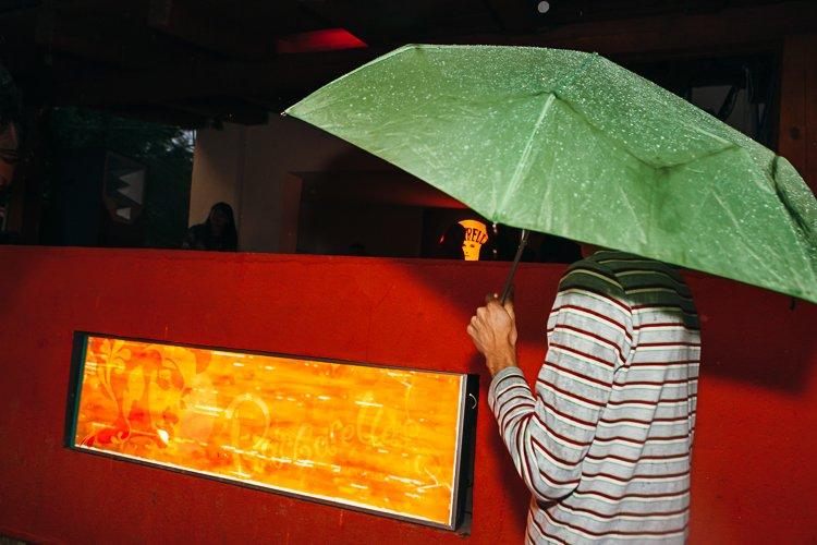 Barbarellas outdoor club in the rain